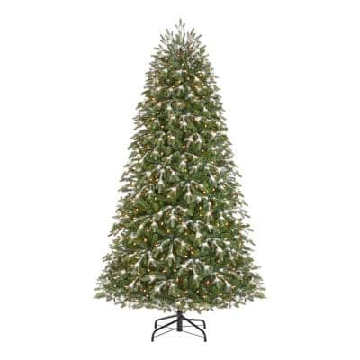7.5 ft. Snowfall Shimmer Noble Fir Pre-Lit LED Artificial Christmas Tree with 600 Warm White M5 Lights
