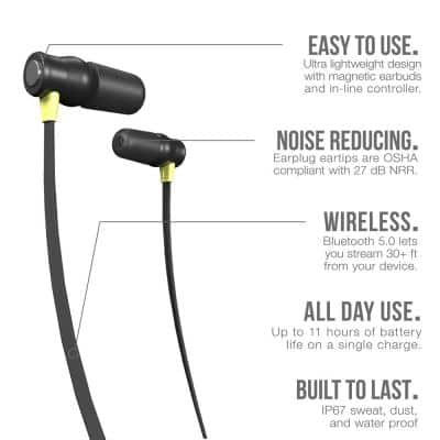 XTRA 2.0 Bluetooth Hearing Protection Earbuds, 27 dB Noise Reduction Rating, OSHA Compliant Work Ear Protection (Yellow)