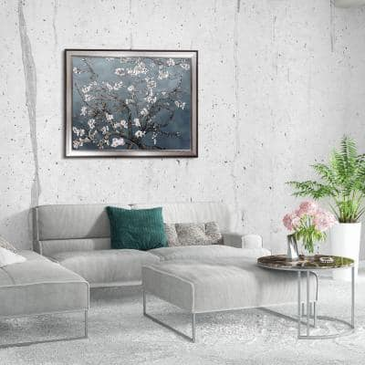 """45 in. x 35 in. """"Branches of an Almond Tree, Magnesium Silver Frame"""" Original Framed Wall Art"""