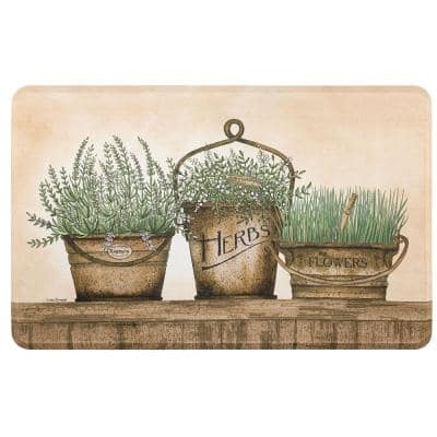 Herb Garden Multi 20 in. x 32 in. Kitchen Mat