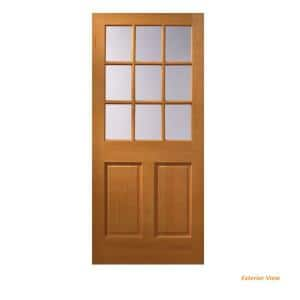 32 in. x 80 in. 9 Lite Unfinished Wood Front Door Slab