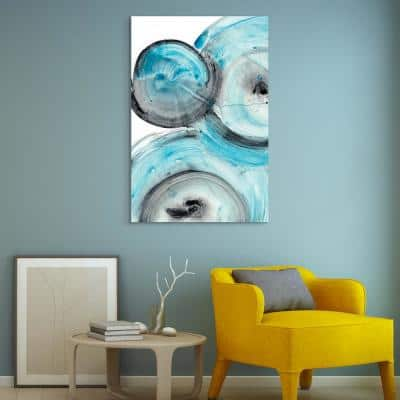 """""""Ripple Effect Iv"""" Abstract Frameless Free Floating Tempered Glass Panel Graphic Wall Art"""