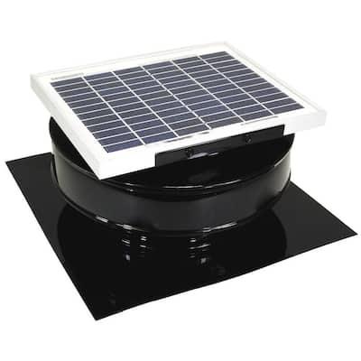 365 CFM Black Powder Coated 5-Watt Solar Powered Roof Mounted Exhaust Attic Fan