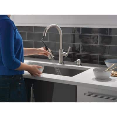 Emery Single-Handle Pull-Down Sprayer Kitchen Faucet with ShieldSpray and Soap Dispenser in SpotShield Stainless Steel