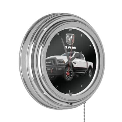 Neon Wall Clock White with Pull Chain-Pub Garage or Man Cave Accessories Double Rung Analog Clock