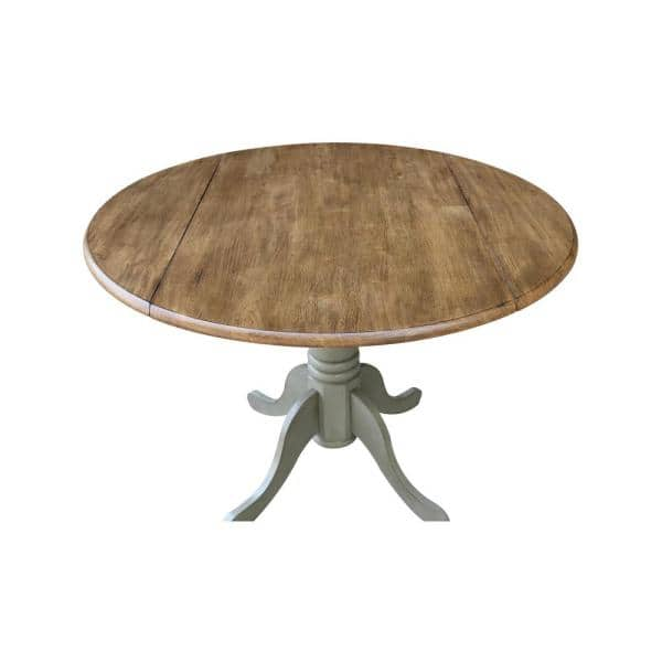 Stone Drop Leaf Round Dining Table Set, Round Pedestal Table With Leaves