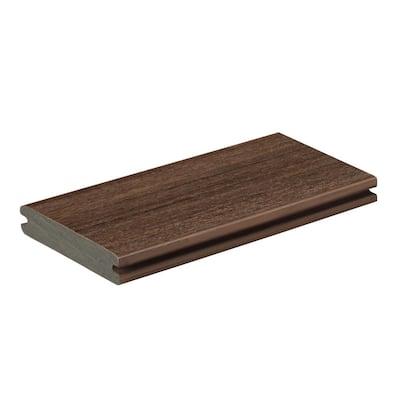 AZEK Vintage 1 in. x 5.5 in. x 1 ft. English Walnut PVC Deck Board Sample