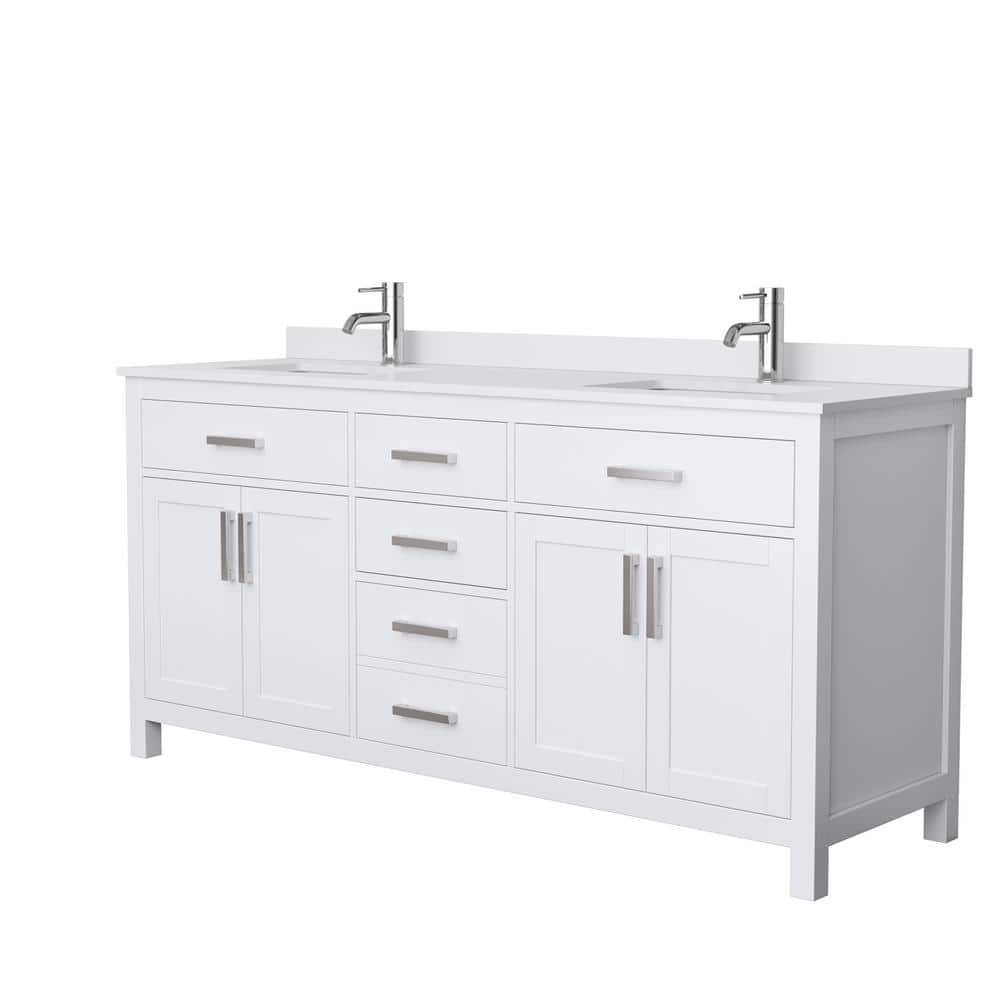 Wyndham Collection Beckett 72 In W X 22 In D Double Bath Vanity In White With Cultured Marble Vanity Top In White With White Basins Wcg242472dwhwcunsmxx The Home Depot