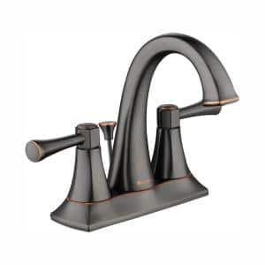 Stillmore 4 in. Centerset 2-Handle High-Arc Bathroom Faucet in Bronze