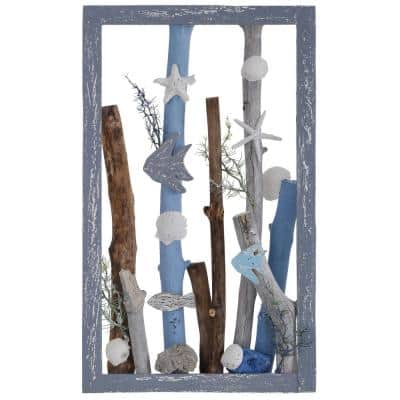 Sea Dive Weathered Gray and Blue Wood Table Top Sculpture
