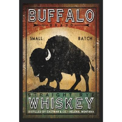 Buffalo Whiskey Framed Giclee Typography Art Print 18 in. x 26 in.