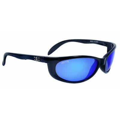 Black Frame Smoker Sunglasses with Blue Mirror Lenses