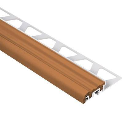 Trep-S Aluminum with Nut Brown Insert 3/8 in. x 8 ft. 2-1/2 in. Metal Stair Nose Tile Edging Trim