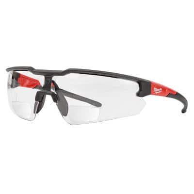 Clear +2.50 Bifocal Safety Glasses Magnified Anti-Scratch Lenses