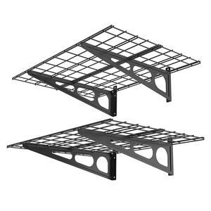 24 in. x 48 in. Steel Garage Wall Shelving in Black (2-Pack)
