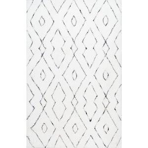 Beaulah Modern Geometric Shag White 9 ft. x 12 ft. Area Rug