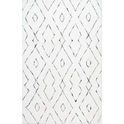 Beaulah Modern Geometric Shag White 6 ft. Square Rug