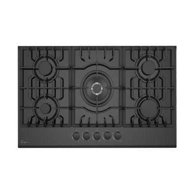 Built-in 30 in. Gas Cooktop Gas Stove in Black 5 Sealed Burners