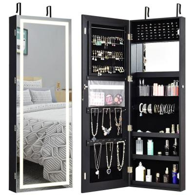 Black Jewelry Armoire Mirrored with LED Light 47 in. H x 16 in. W x 5 in. D
