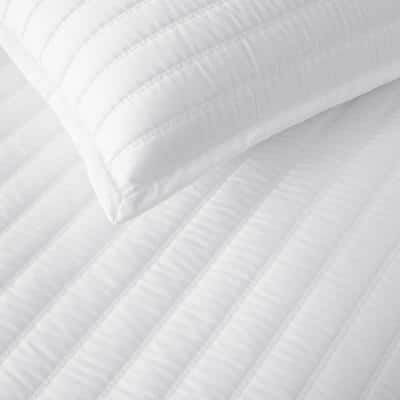 Legends Hotel Wrinkle-Free White Striped Queen Cotton Sateen Coverlet