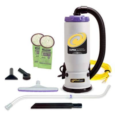 Super QuarterVac 6 Qt. Commercial Backpack Vacuum Cleaner with Xover Multi-Surface Telescoping Wand Tool Kit