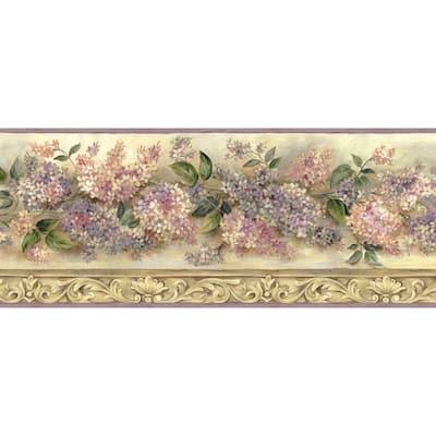 Ethel Sand Heirloom Lilacs Trail Sand Wallpaper Border Sample
