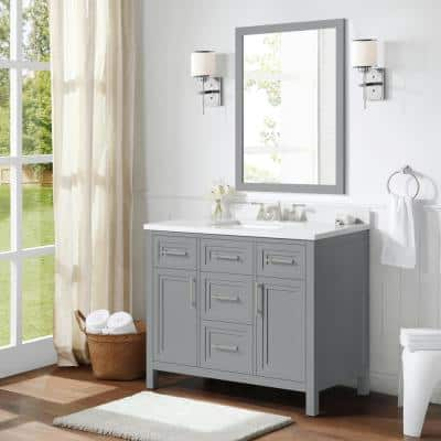 Mayfield 42 in. W x 22 in. D Vanity in American Gray with Cultured Marble Vanity Top in White with White Basin