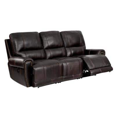 89.5 in. W Chocolate Brown Leather 3-Seats Sofa with Power Reclining