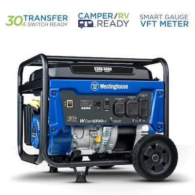 WGen5300cv 6,600-Watt/5,300-Watt Recoil Start Gas Powered Portable Generator with RV Ready Outlet and CO Sensor