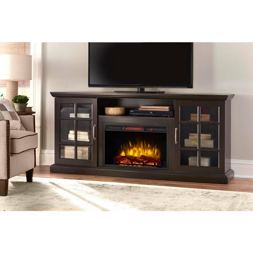 Reviews For Home Decorators Collection Edenfield 70 In Freestanding Infrared Electric Fireplace Tv Stand In Espresso 365 741 48 Y The Home Depot