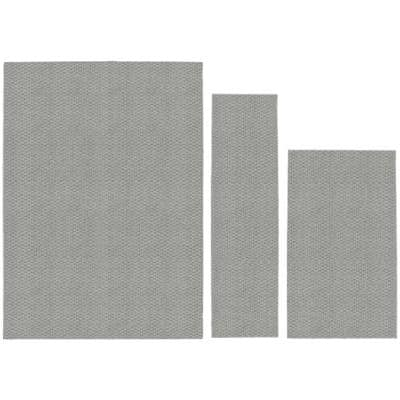 Town Square Silver 5 ft. x 7 ft. (3-Piece) Rug Set