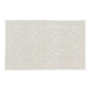 Jaquard Bath Rug White 21 in. x 34 in. Cotton Bath Rug