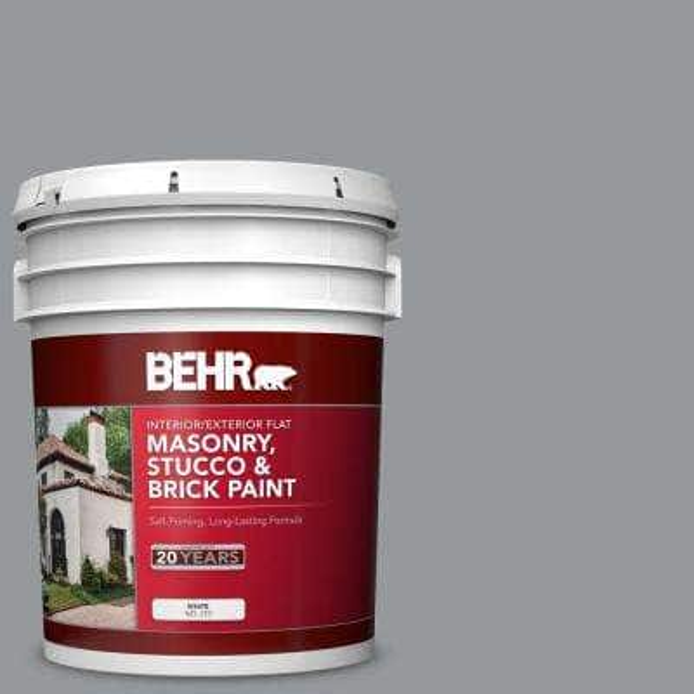 5 gal. #MS-82 Cobblestone Grey Flat Interior/Exterior Masonry, Stucco and Brick Paint