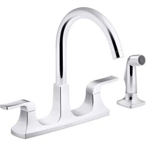 Rubicon 2-Handle Standard Kitchen Faucet with Sidespray in Polished Chrome