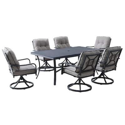 Davenport 7-Piece Gray Aluminum Outdoor Dining Set with Gray Cushions