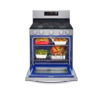 5.8 cu.ft. Smart Single Oven Gas Range with EasyClean, Wi-Fi Enabled in Stainless Steel