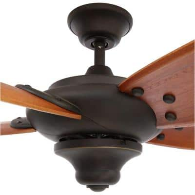 Altura 56 in. Indoor Oil Rubbed Bronze Dry Rated Ceiling Fan with Downrod, Remote Control and Reversible Motor