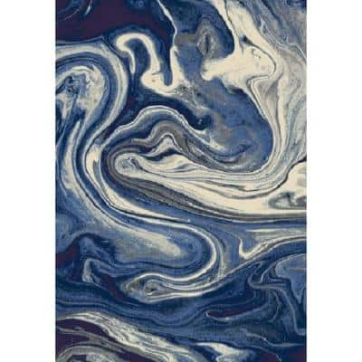 Watercolors Blue Palette 8 ft. x 10 ft. Abstract Area Rug