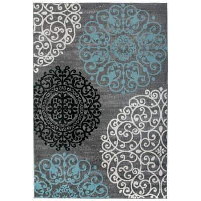Contemporary Modern Floral Gray 6 ft. 6 in. x 9 ft. Area Rug