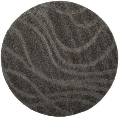 Florida Shag Gray 7 ft. x 7 ft. Round Solid Area Rug