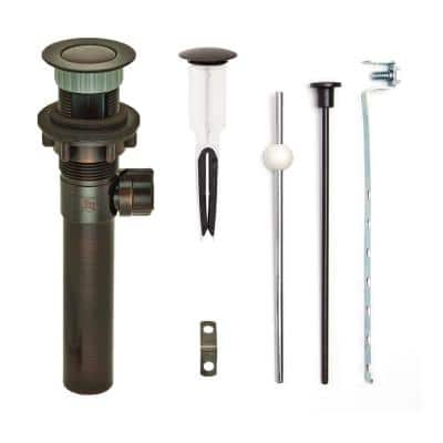 """EasyPOPUP  Pop-Up Drain, Easy Install/Remove Stopper, Matching ABS Body w/ Overflow, 1.6-2"""" Sink Hole, Oil Rub Bronze"""