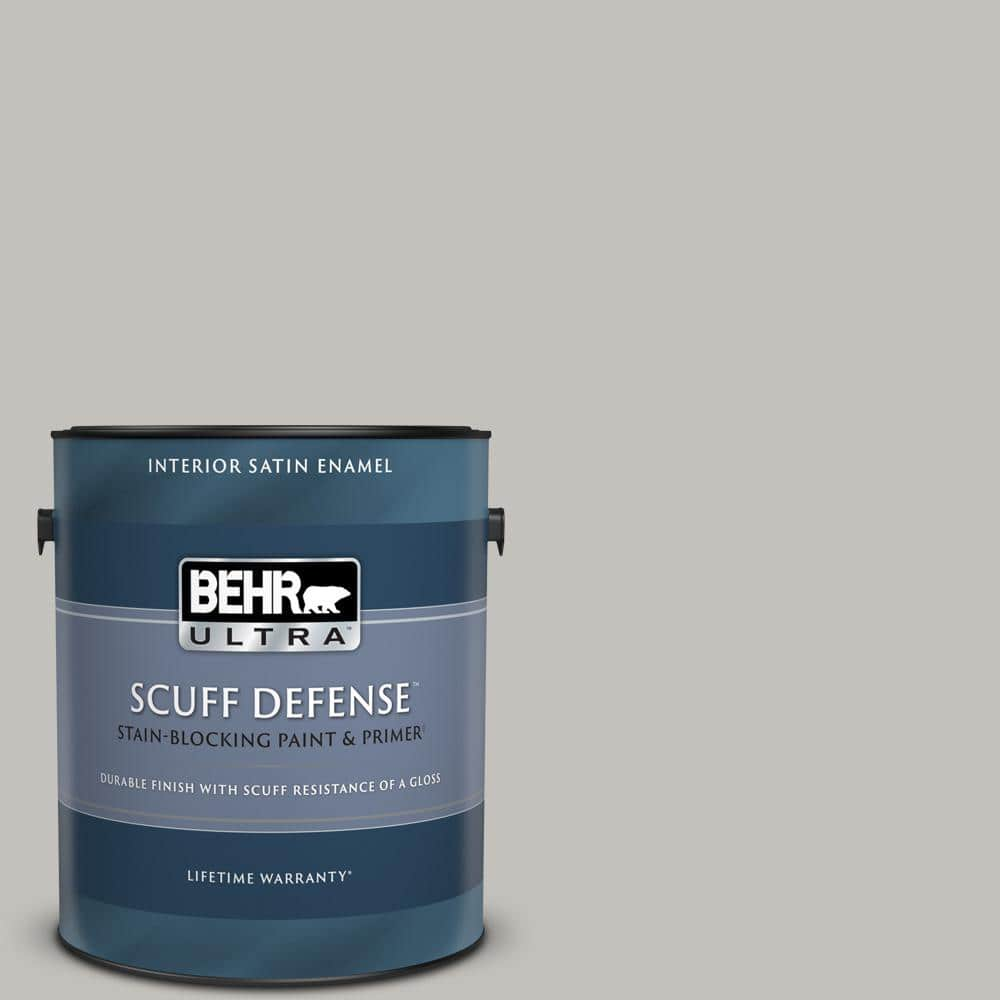 Behr Ultra 1 Gal Ppu18 10 Natural Gray Extra Durable Satin Enamel Interior Paint Primer 775001 The Home Depot