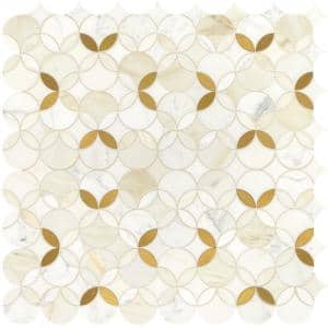 Lavaliere Shapestry 12 in. x 12 in. Marble and Brass Mosaic Tile (1.021 sq. ft./Piece)