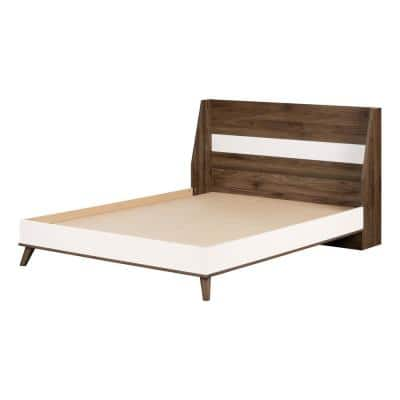 Yodi Natural Walnut and Pure White Full Bed