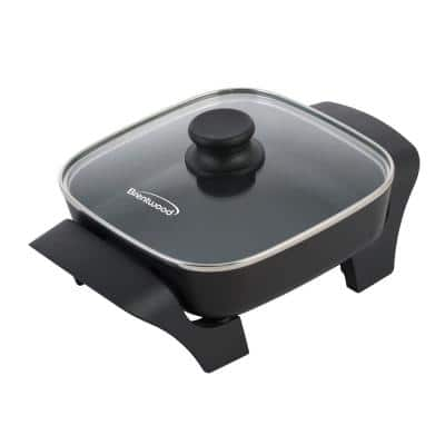 16 sq. in. Black Nonstick Electric Skillet with Glass Lid