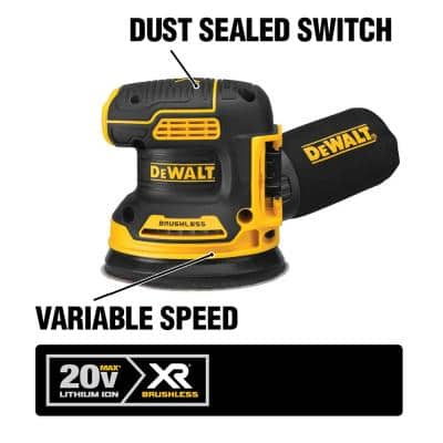 20-Volt MAX XR Cordless Brushless 5 in. Random Orbital Sander with (1) 20-Volt Battery 3.0Ah