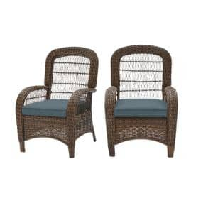 Beacon Park Brown Wicker Outdoor Patio Captain Dining Chair with Sunbrella Denim Blue Cushions (2-Pack)