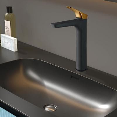 Single Hole Single-Handle Vessel Bathroom Faucet in Matte Black with Brushed Gold Handle