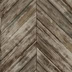 Herringbone Wood Boards Brown Peel and Stick Wallpaper (Covers 28.18 sq. ft.)