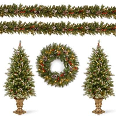 Frosted Berry Assortment Two 4 ft. Entrance Trees with Clear Lights and 24 in. Wreath with Warm White Light